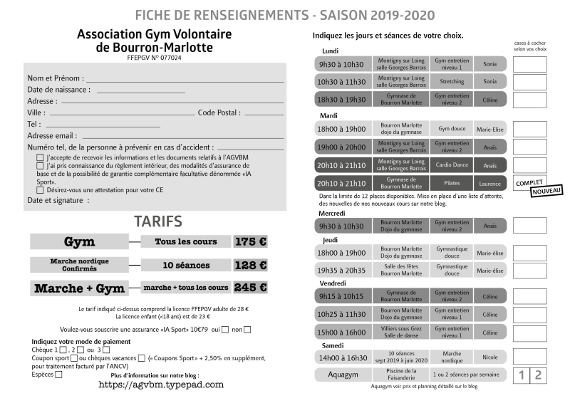 Fiche d'inscription 2019-2020 GVBM