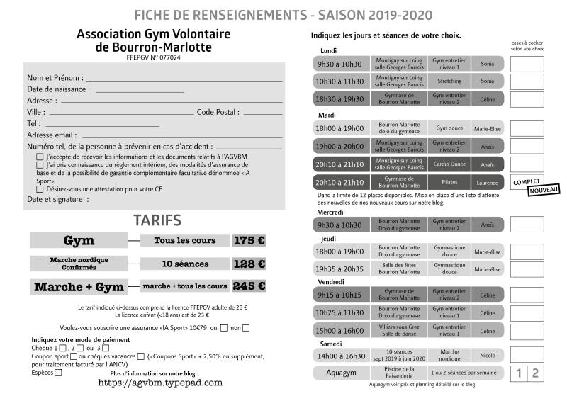 Fiche d'inscription 2019-2020 GVBM