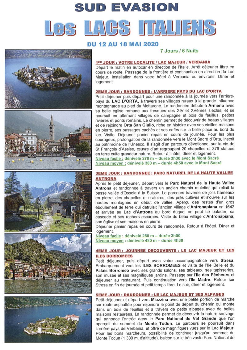 PROGRAMME LACS ITALIENS MAI 2020